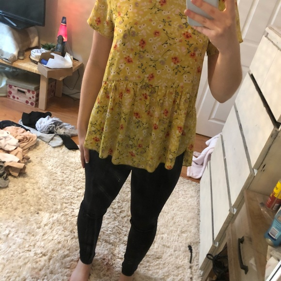 Yellow floral babydoll blouse